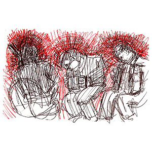 drawing of Celtic music trio