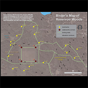 digital mapping of bird trails / Reservoir Woods 2